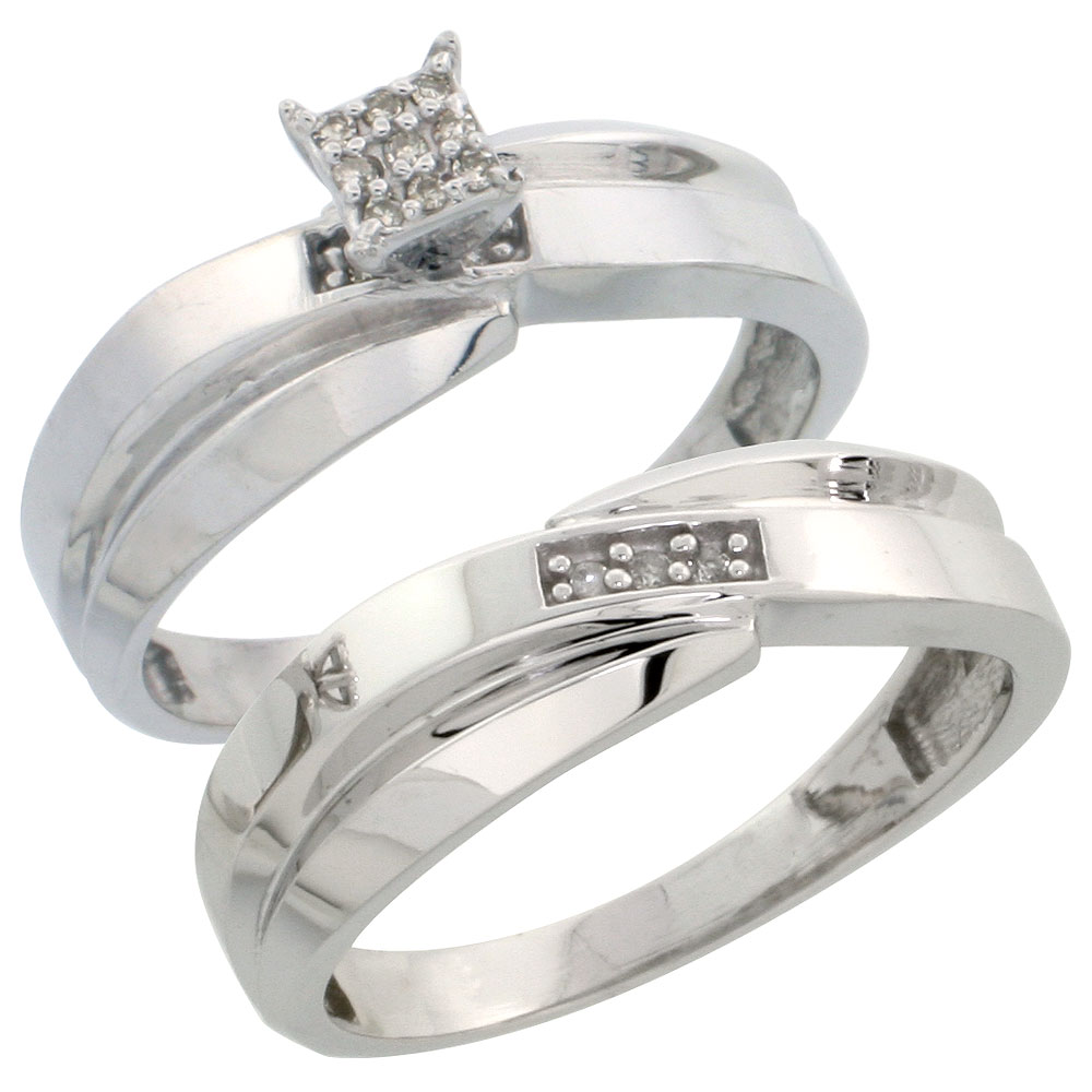 Sterling Silver Diamond Engagement Ring Set 2-Piece 0.07 cttw Brilliant Cut, 1/4 inch 6mm wide