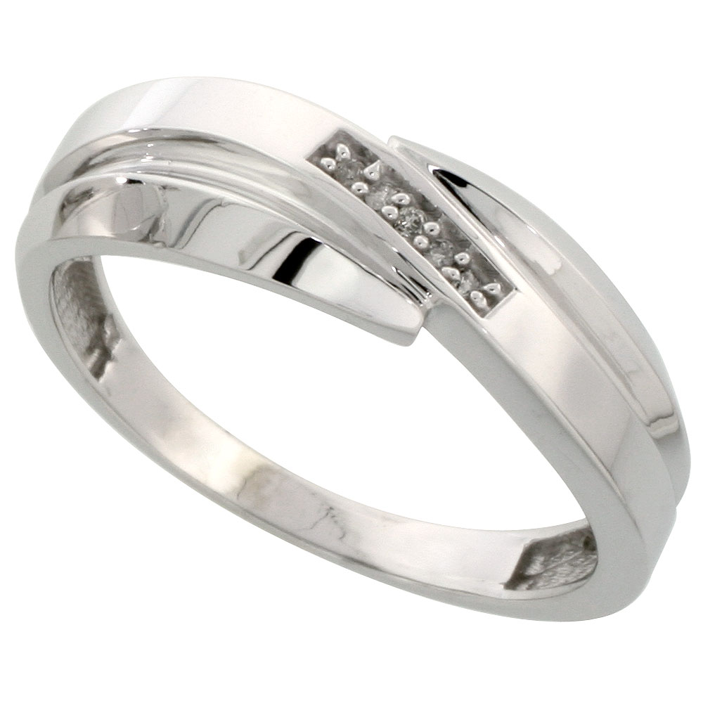 Sterling Silver Mens Diamond Wedding Band Ring 0.03 cttw Brilliant Cut, 9/32 inch 7mm wide