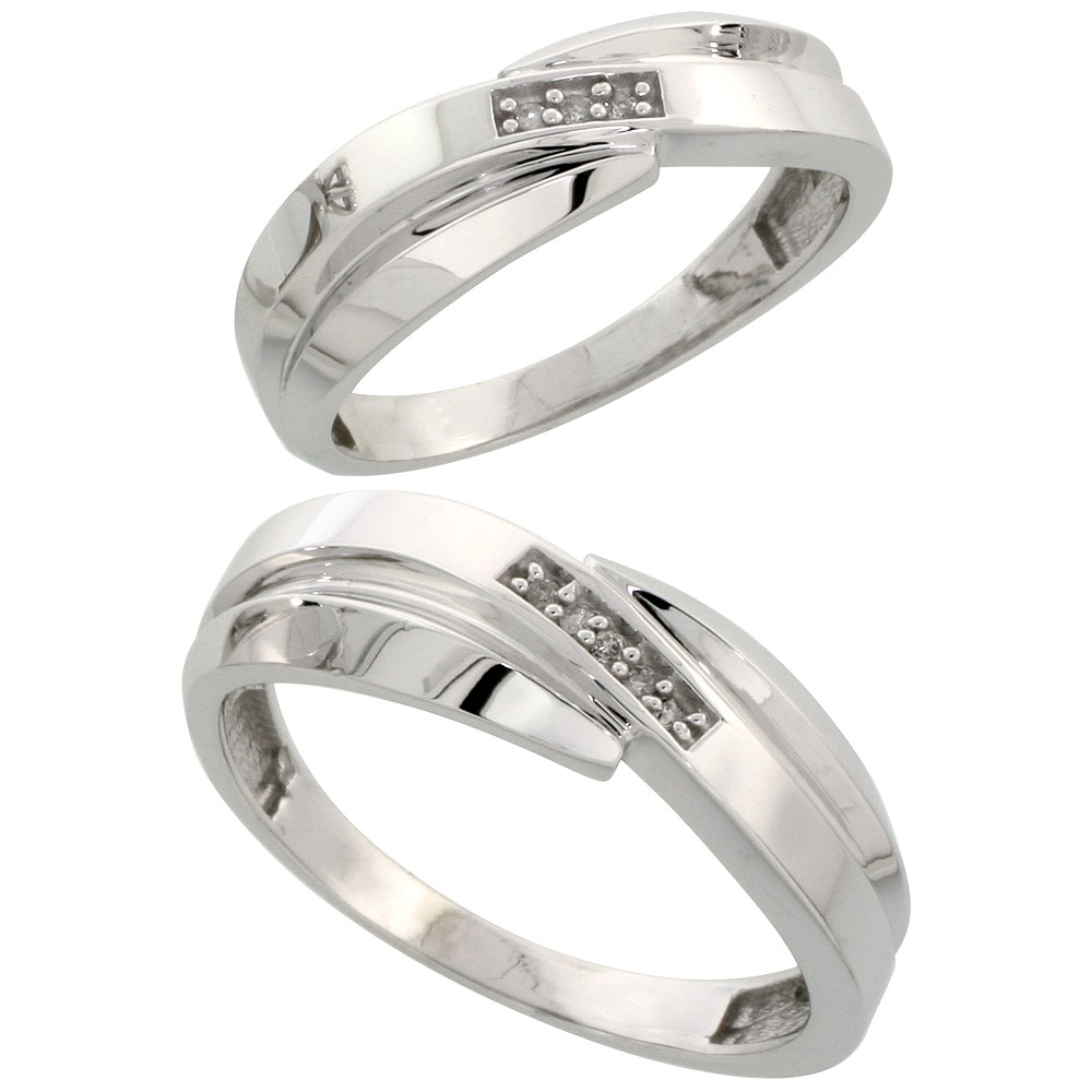 Sterling Silver Diamond Wedding Rings Set for him 7 mm and her 6 mm 2-Piece 0.05 cttw Brilliant Cut, ladies sizes 5 ? 10, mens sizes 8 - 14