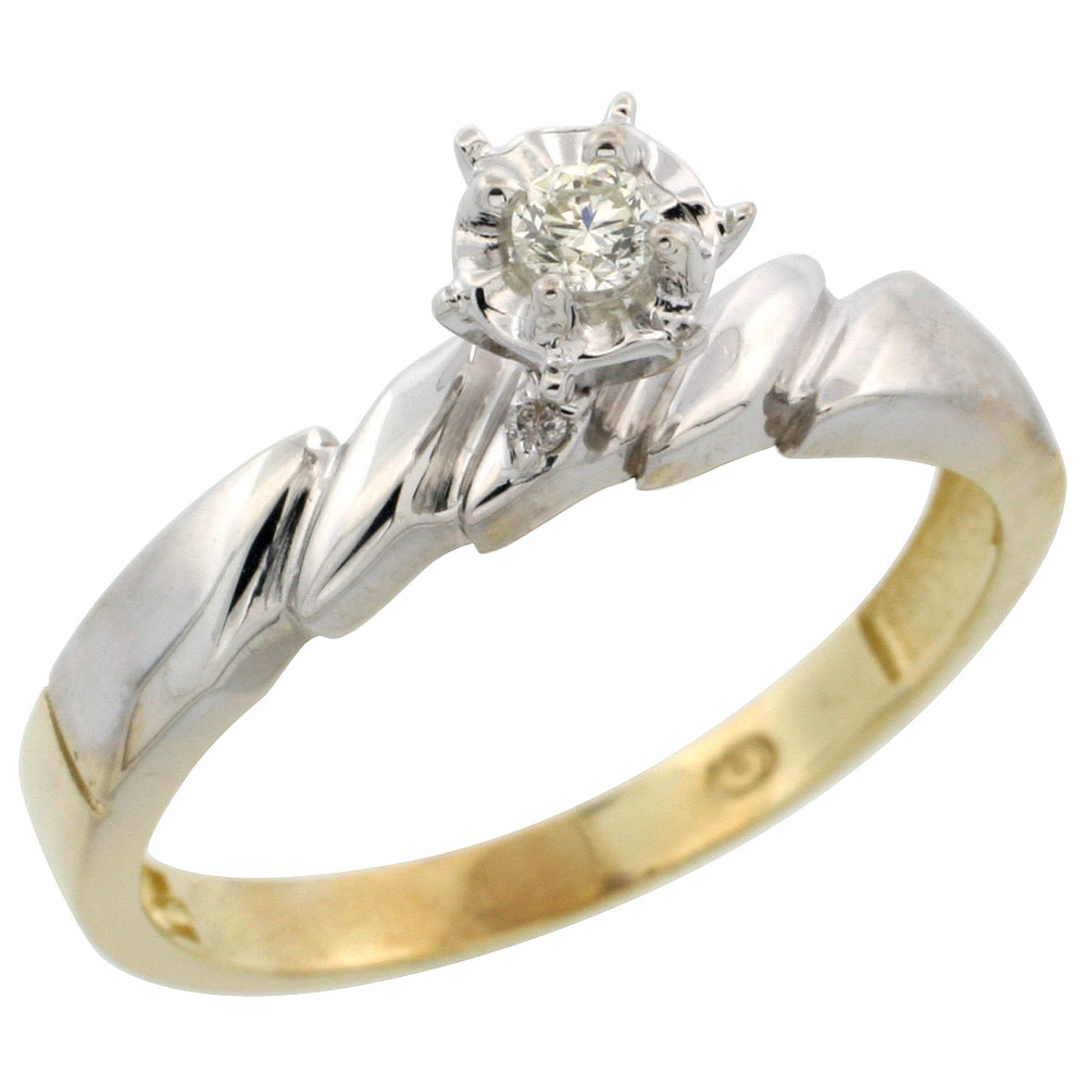 Gold Plated Sterling Silver Diamond Engagement Ring, 5/32 inch wide