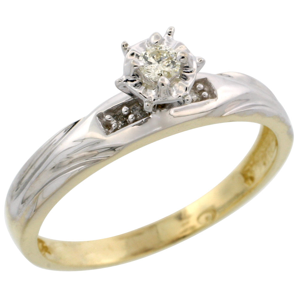 Gold Plated Sterling Silver Diamond Engagement Ring, 1/8 inch wide