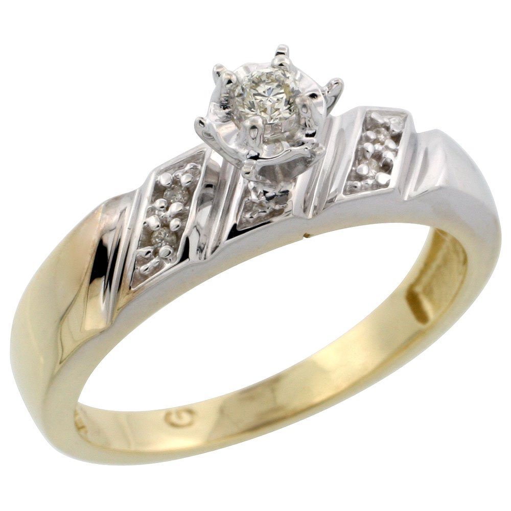 Gold Plated Sterling Silver Diamond Engagement Ring, 3/16 inch wide