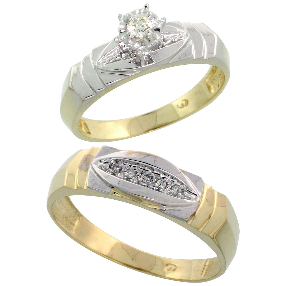 Gold Plated Sterling Silver 2-Piece Diamond Wedding Engagement Ring Set for Him and Her, 5mm & 6mm wide