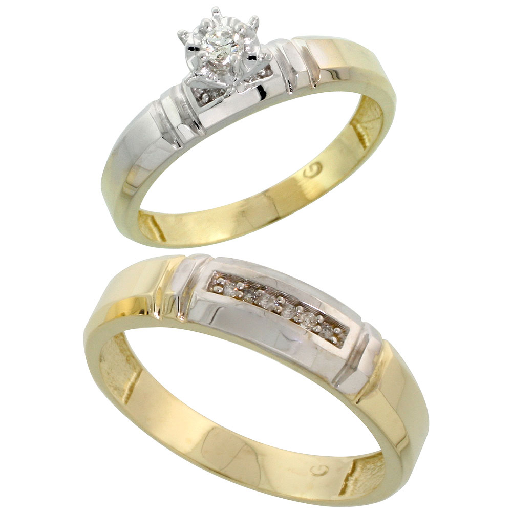 Gold Plated Sterling Silver 2-Piece Diamond Wedding Engagement Ring Set for Him and Her, 4mm & 5.5mm wide
