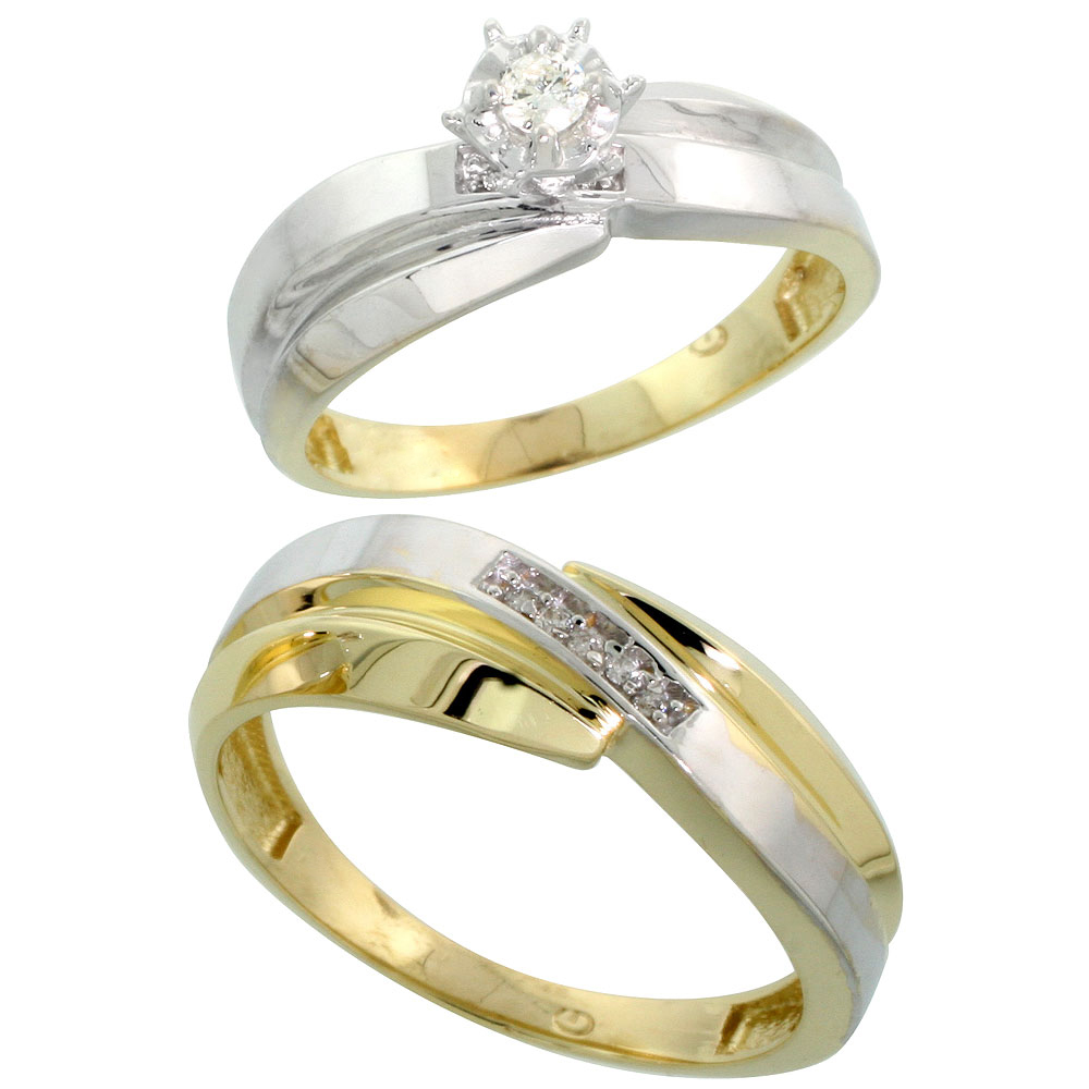 Gold Plated Sterling Silver 2-Piece Diamond Wedding Engagement Ring Set for Him and Her, 6mm & 7mm wide