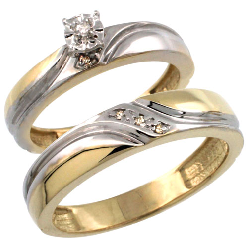 Gold Plated Sterling Silver 2-Piece Diamond Wedding Engagement Ring Set for Him and Her 4mm & 5mm wide