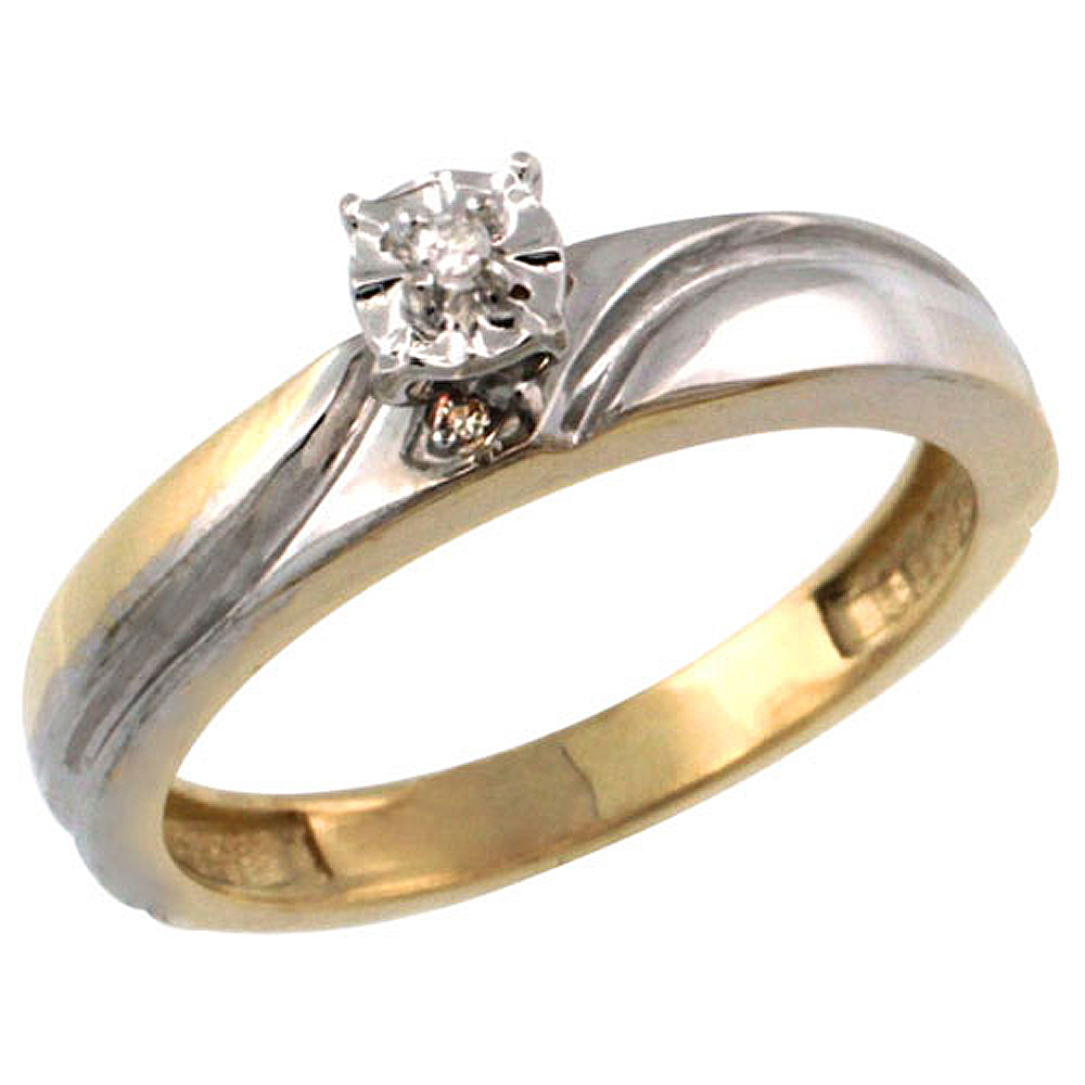 Gold Plated Sterling Silver Diamond Engagement Ring 5/32 inch wide