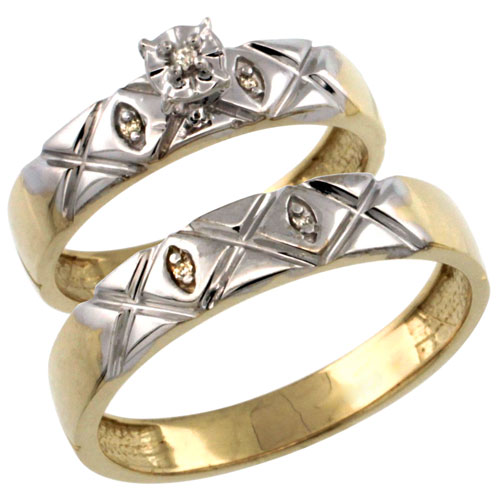 Gold Plated Sterling Silver 2-Piece Diamond Wedding Engagement Ring Set for Him and Her 4.5mm & 5mm wide
