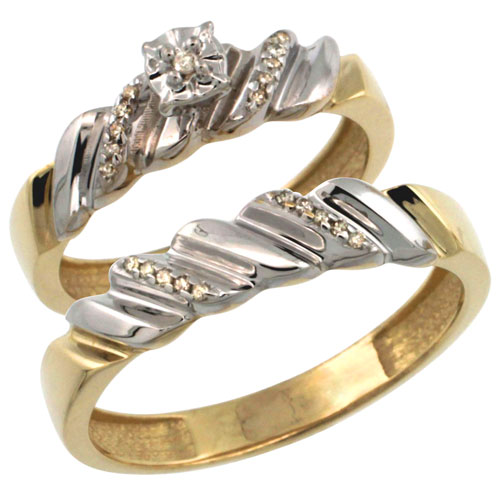 Gold Plated Sterling Silver 2-Piece Diamond Wedding Engagement Ring Set for Him and Her 5mm & 5mm wide