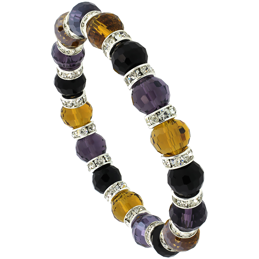 7 in. Multi Color Faceted Glass Crystal Bracelet on Elastic Nylon Strand ( Amber, Citrine, Amethyst & Black Color ), 3/8 in. (10 mm) wide