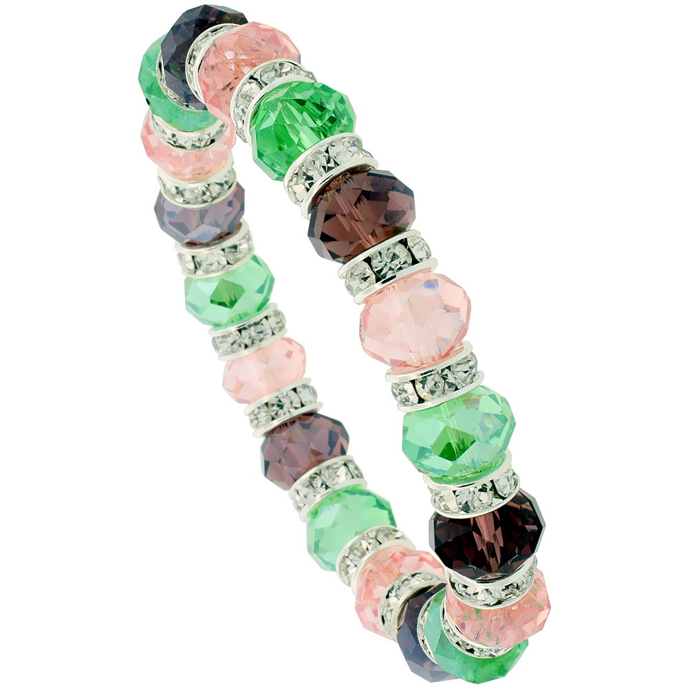 7 in. Multi Color Faceted Glass Crystal Bracelet on Elastic Nylon Strand ( Pink Tourmaline, Peridot & Amethyst Color ), 3/8 in. (10 mm) wide