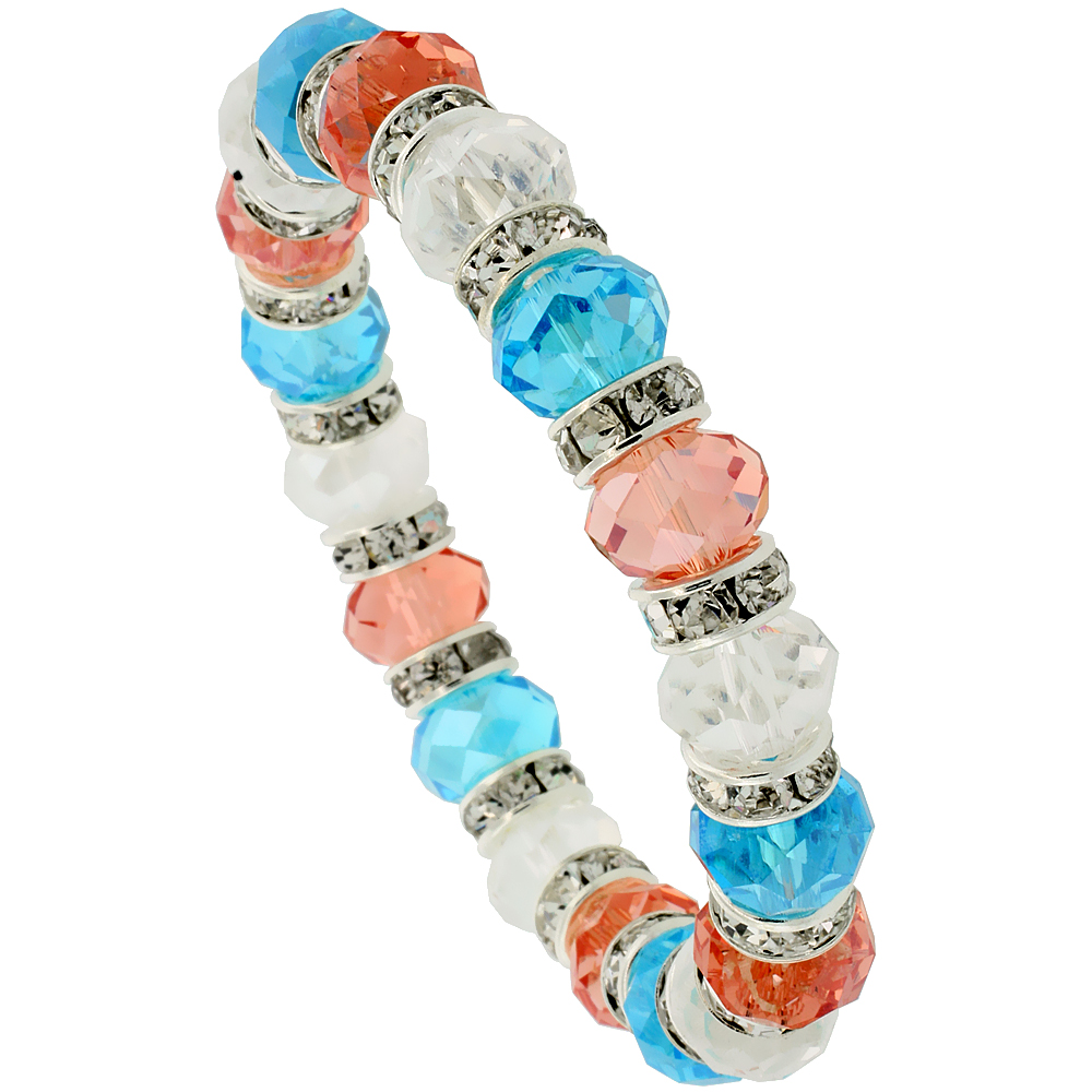 7 in. Multi Color Faceted Glass Crystal Bracelet on Elastic Nylon Strand ( Clear, Orange Sapphire & Aquamarine Color ), 3/8 in. (10 mm) wide