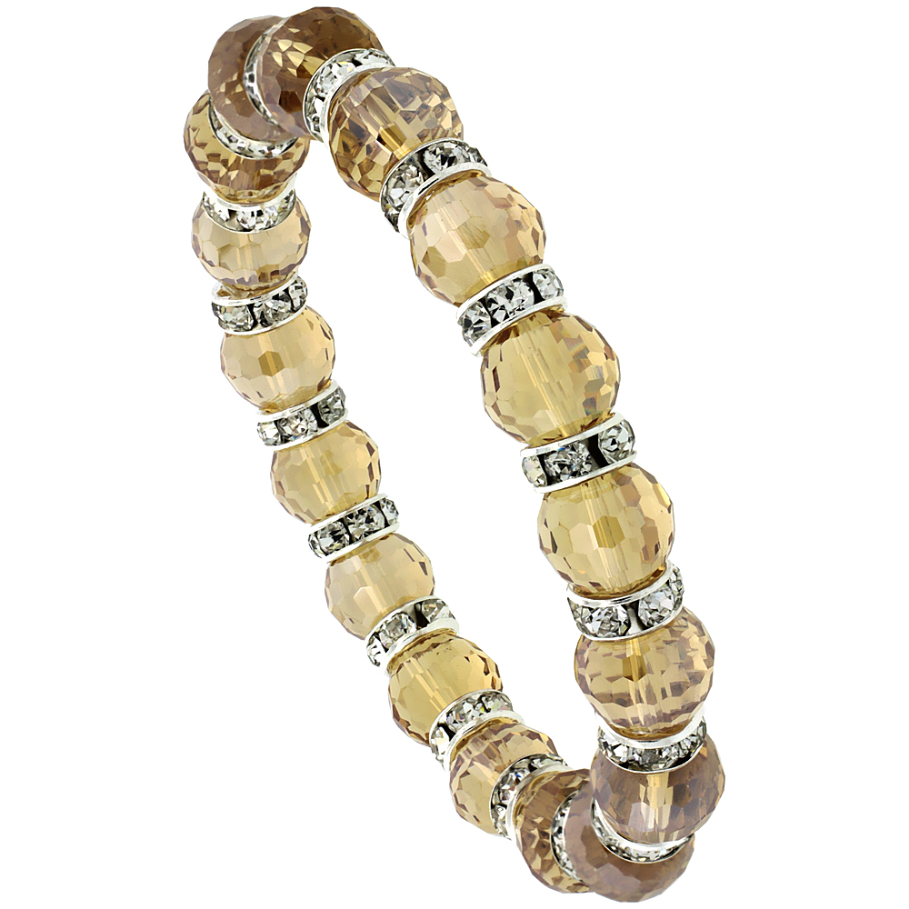 7 in. Citrine Color Faceted Glass Crystal Bracelet on Elastic Nylon Strand, 3/8 in. (10 mm) wide