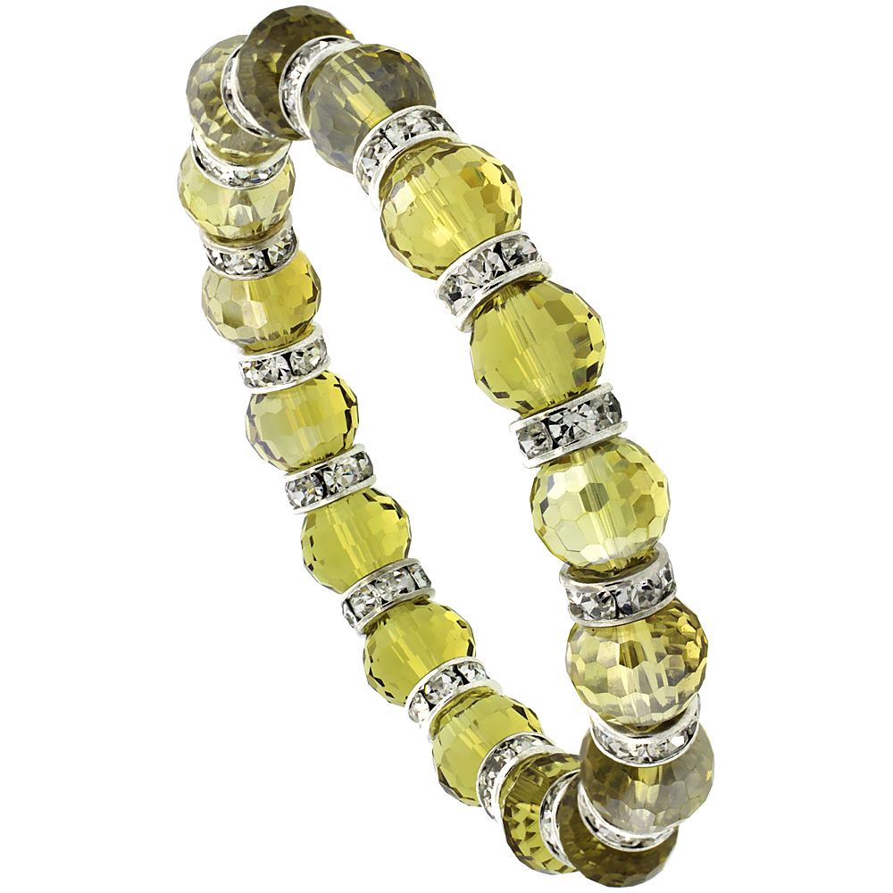 7 in. Amber Color Faceted Glass Crystal Bracelet on Elastic Nylon Strand, 3/8 in. (10 mm) wide