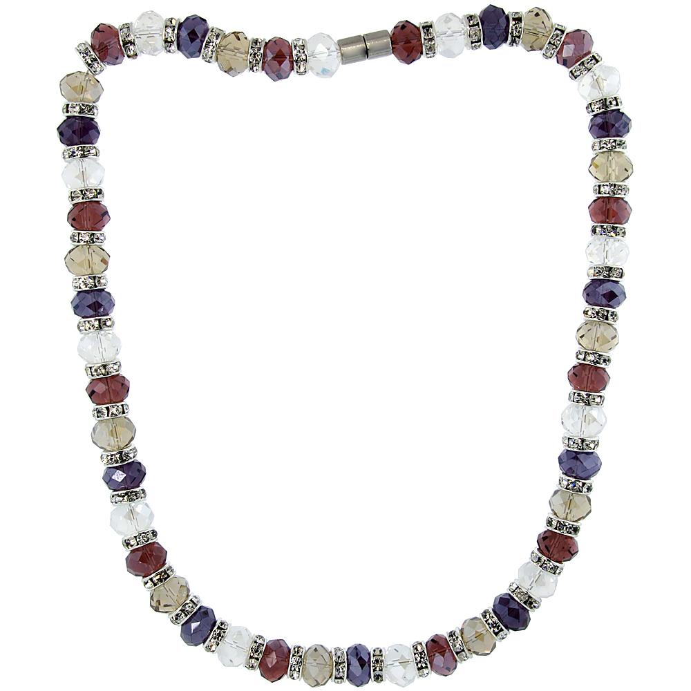 18 in. Multi Color Faceted Glass Crystal Necklace on Elastic Nylon Strand ( Clear, Garnet, Smoky Topaz & Amethyst Color ), 3/8 in. (10 mm) wide