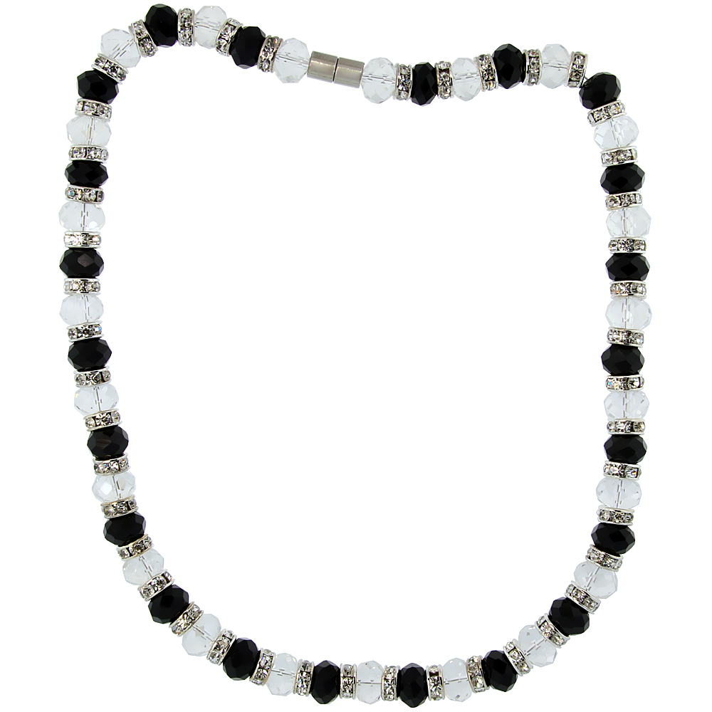 18 in. Black & White Faceted Glass Crystal Necklace on Elastic Nylon Strand, 3/8 in. (10 mm) wide