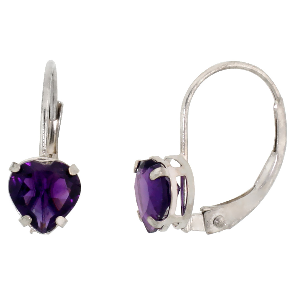 10k White Gold Natural Amethyst Heart Leverback Earrings 6mm February Birthstone, 9/16 inch long