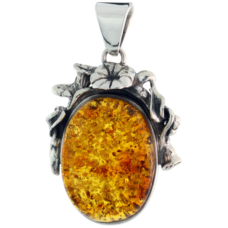 "Sterling Silver Floral Russian Baltic Amber Pendant w/ 30x20mm Oval-shaped Cabochon Cut Stone, 1 11/16"" (44 mm) tall"