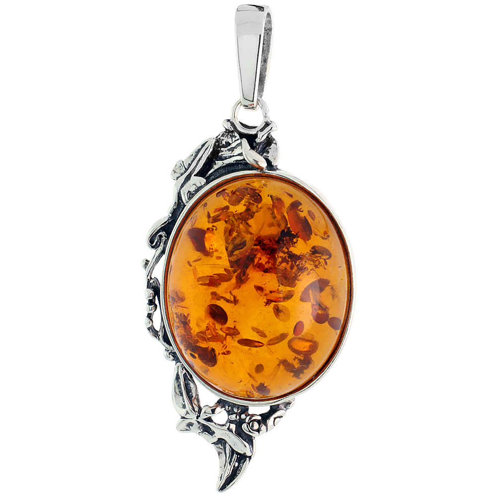 "Sterling Silver Floral Russian Baltic Amber Pendant w/ 27x22mm Oval-shaped Cabochon Cut Stone, 2"" (50 mm) tall"