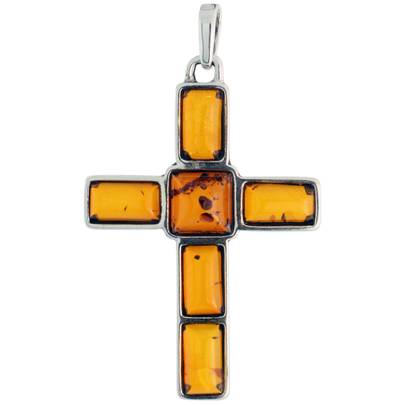 "Sterling Silver Cross Russian Baltic Amber Pendant w/ one 8mm Square-shaped & five 8x4mm Rectangular Cabochon Cut Stones, 1 3/4"" (44 mm) tall"