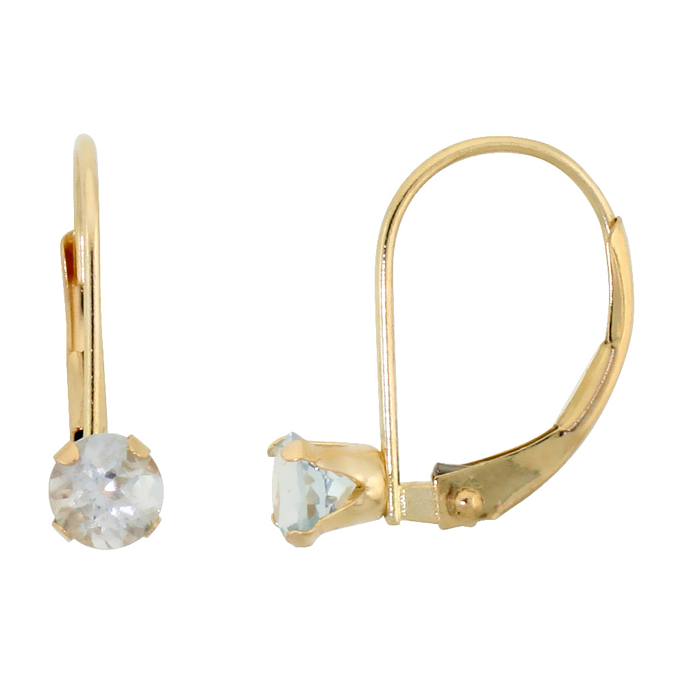 10k Yellow Gold Natural Aquamarine Leverback Earrings 1/2 ct Brilliant Cut March Birthstone, 9/16 inch long