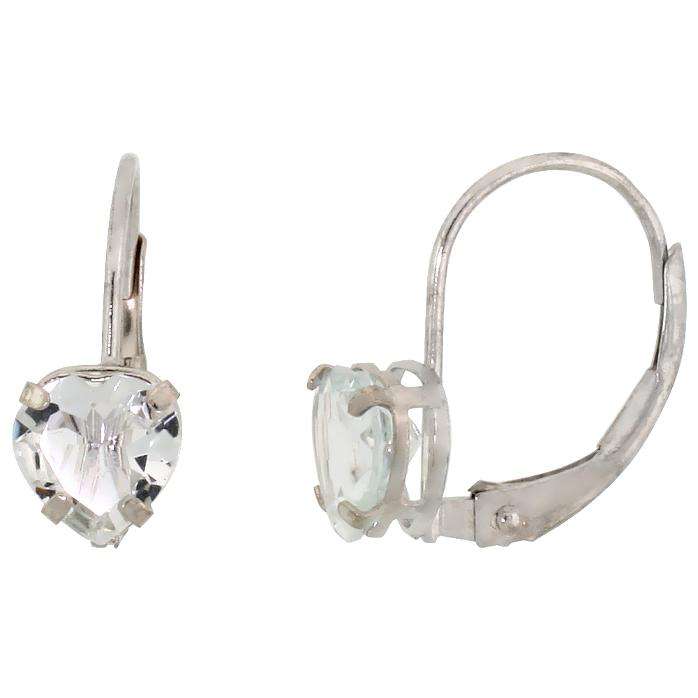 10k White Gold Natural Aquamarine Heart Leverback Earrings 6mm March Birthstone, 9/16 inch long