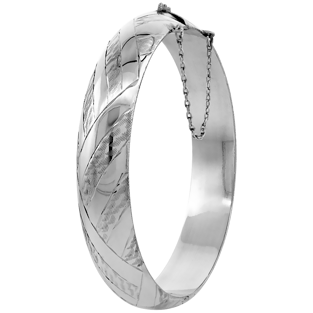 Sterling Silver Bangle Bracelet Engraved Safety Chain, 1/2 inch wide