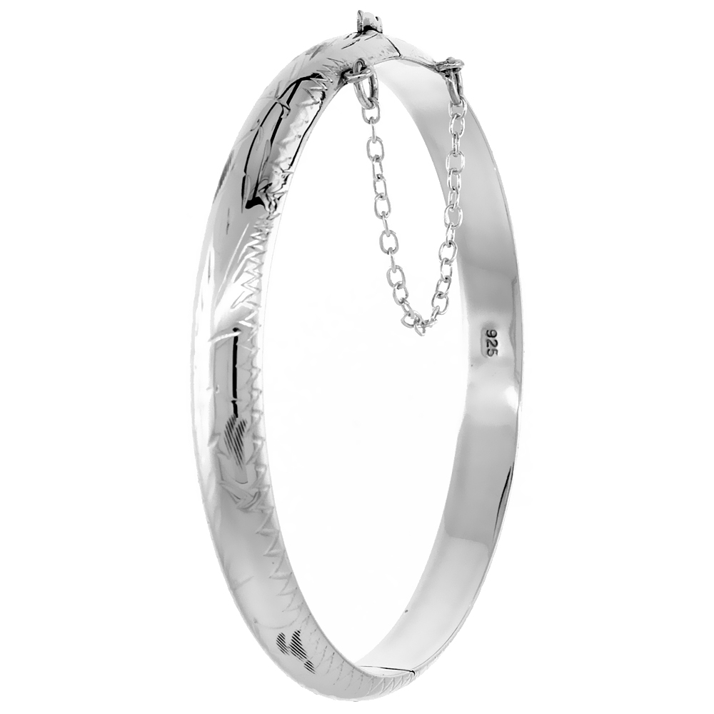 Sterling Silver Bangle Bracelet Floral Engraving Safety Chain 1/4 inch wide