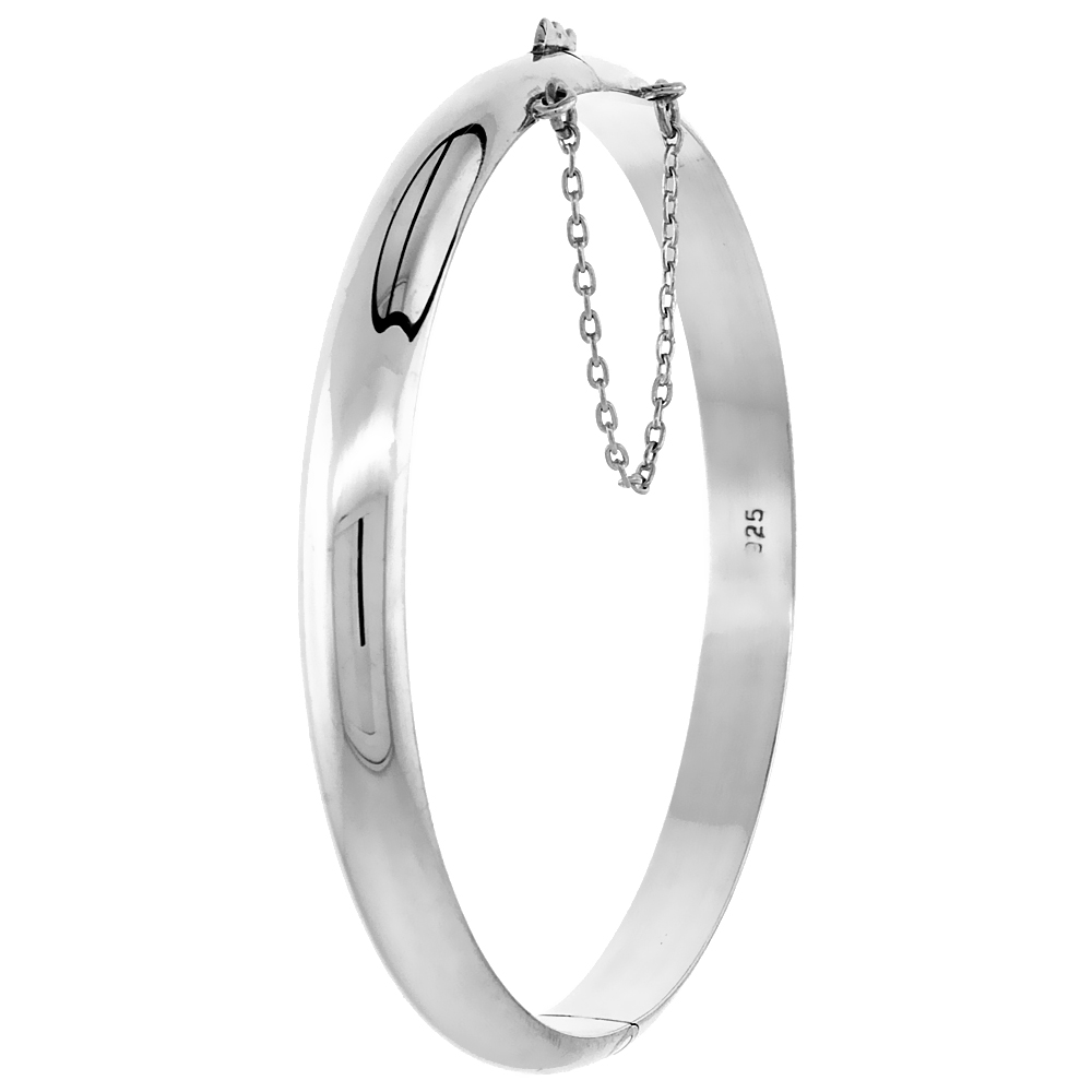 Sterling Silver Bangle Bracelet High Polished Safety Chain, 1/4 inch wide