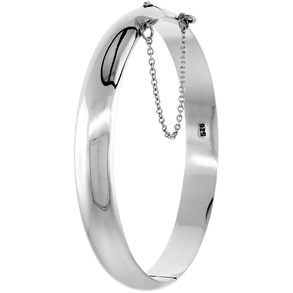 Sterling Silver Bangle Bracelet High Polished Safety Chain, 3/8 inch wide