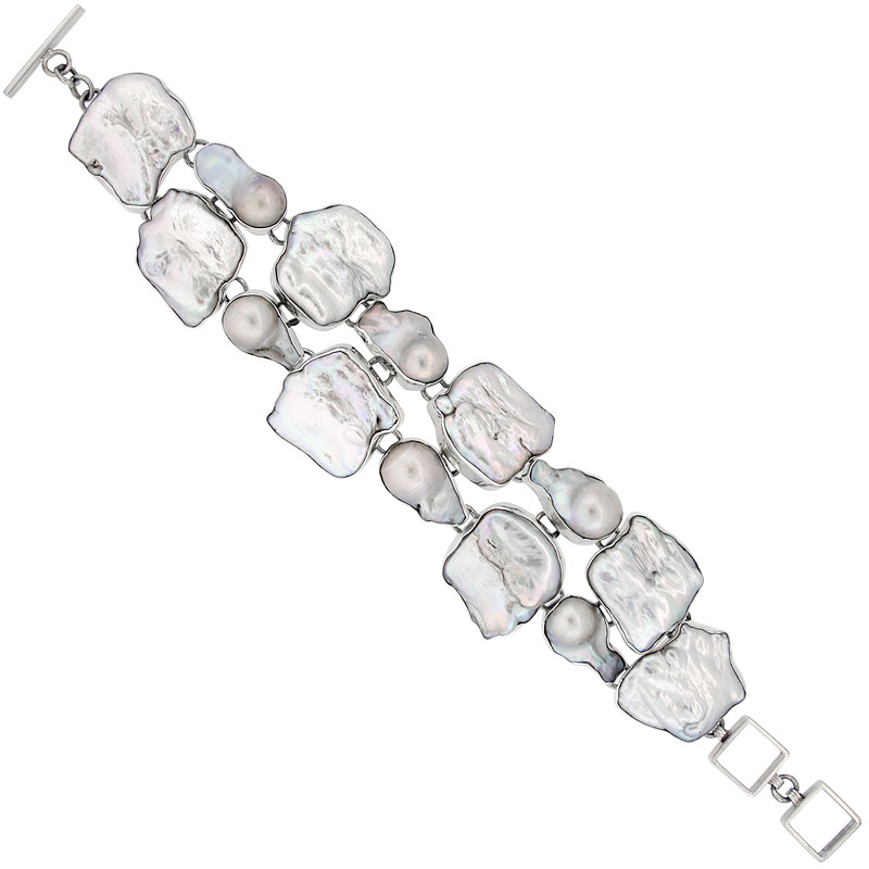 Sterling Silver Double Strand Freeform Toggle Bracelet, w/ Mother of Pearl Inlay, 1 5/16 in. (33 mm) wide