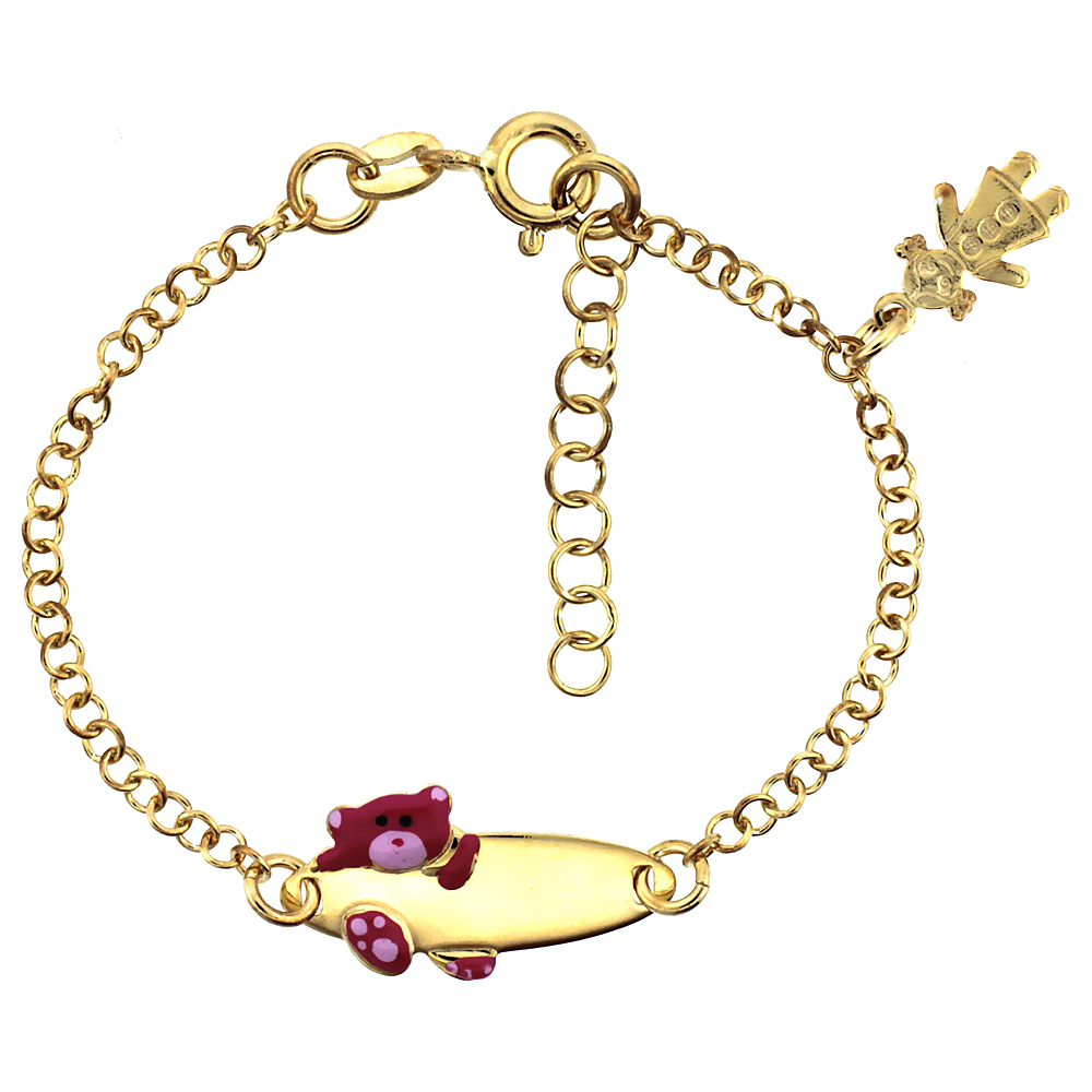 Sterling Silver Rolo Link Baby ID Bracelet in Yellow Gold Finish w/ Pink Teddy Bear & Girl Charm (5-6 inch)