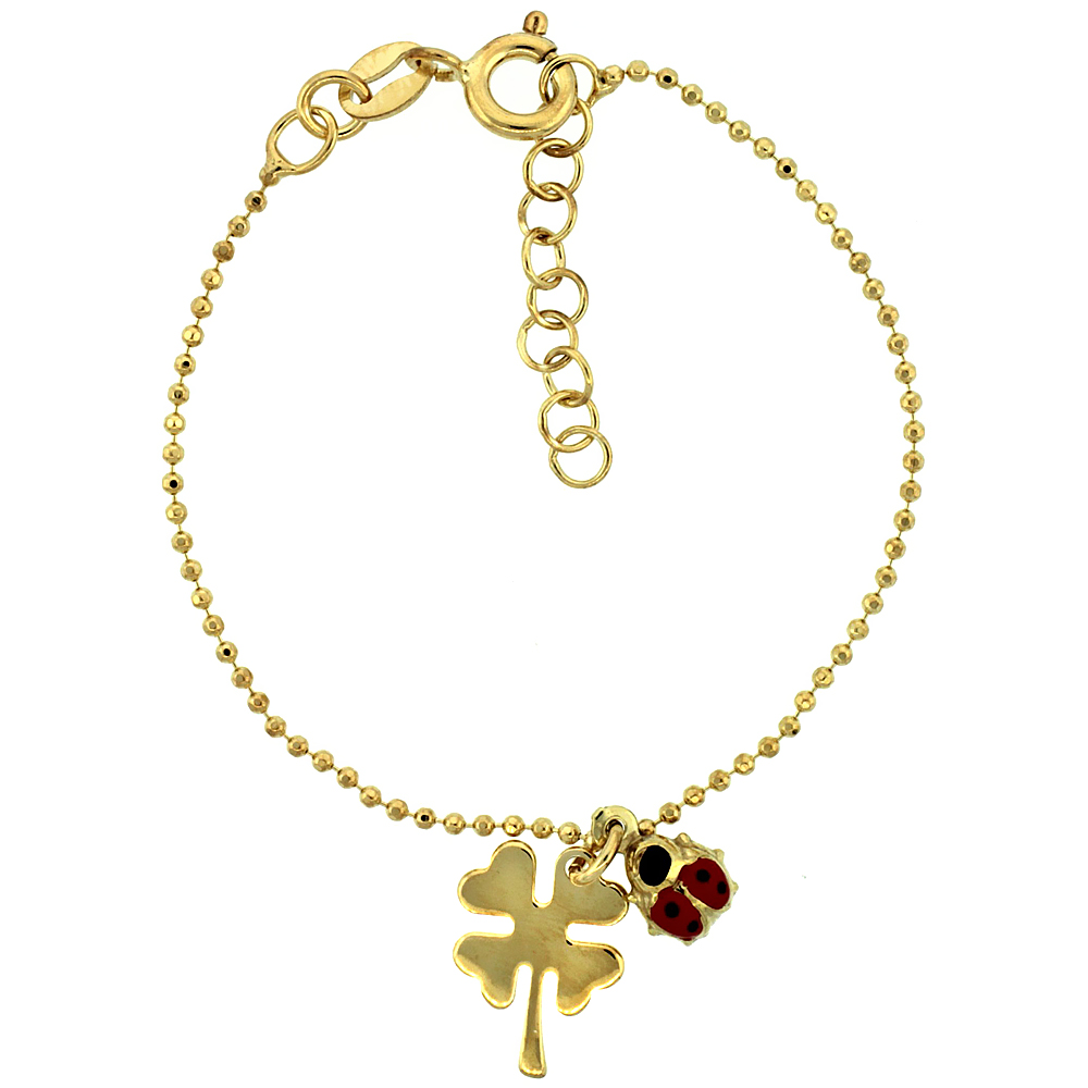 Sterling Silver Pallini Ball Bead Link Baby Bracelet in Yellow Gold Finish w/ Shamrock Clover Flower & Lady Bug Charms (5-6 inch