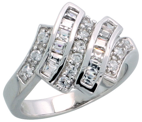 "Sterling Silver Cocktail Ring, Rhodium Plated w/ 12 Baguette & 12 Round Cubic Zirconia Stones, 9/16"" (14 mm) wide"