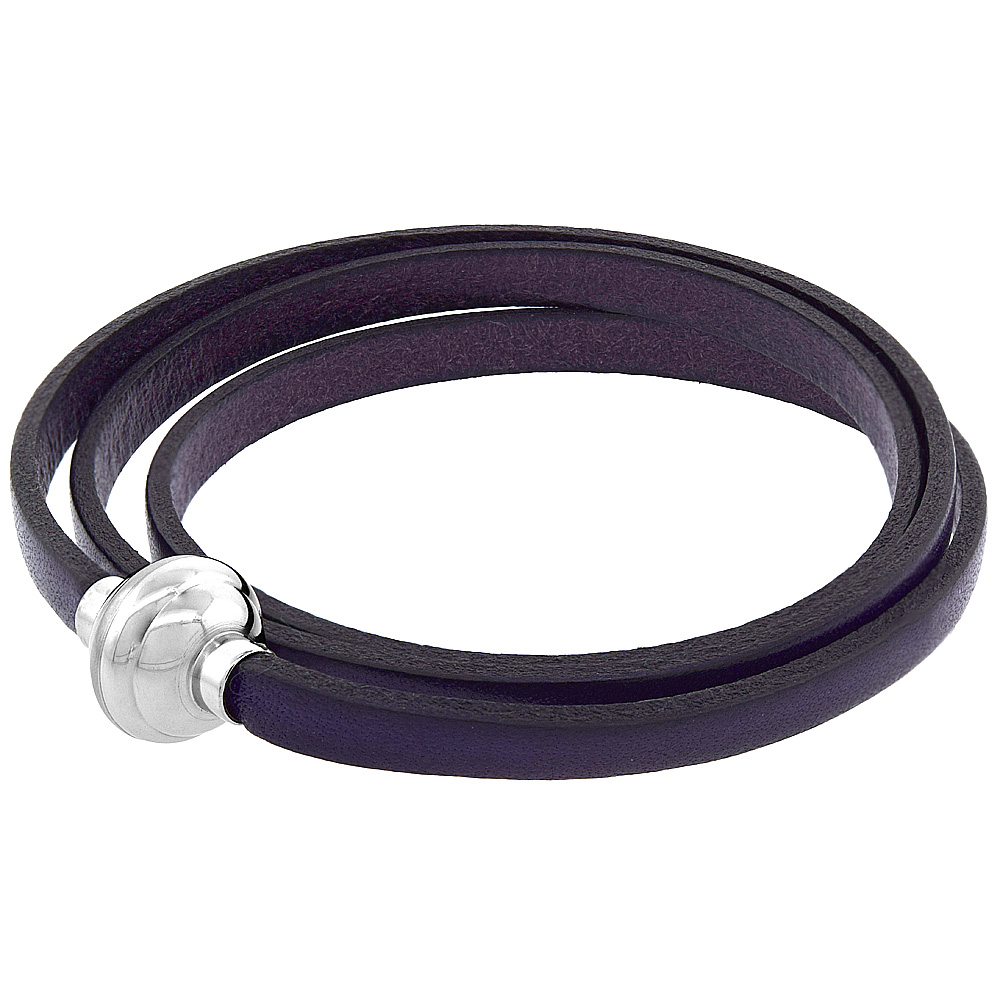 Quality Full Grain Purple Leather Wrap Bracelet Stainless Steel Magnetic Clasp Italy 22.5 inch