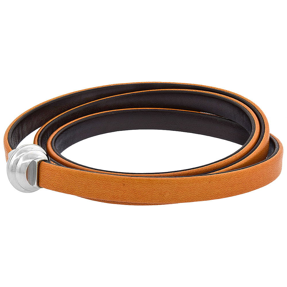Quality Full Grain Tan & Brown Leather Wrap Bracelet Double Sided Magnetic Clasp Italy 22.5 inch