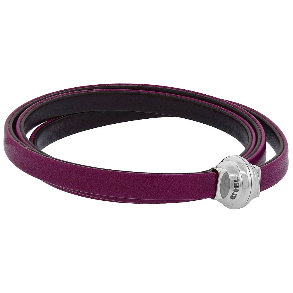 Quality Full Grain Fuchsia & Brown Leather Wrap Bracelet Double Sided Magnetic Clasp Italy 22.5 inch