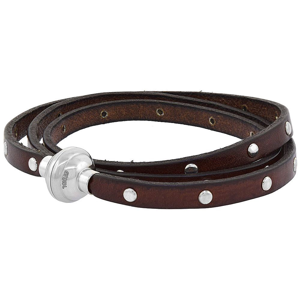 Quality Full Grain Brown Studded Leather Wrap Bracelet Stainless Steel Magnetic Clasp Italy 22.5 inch