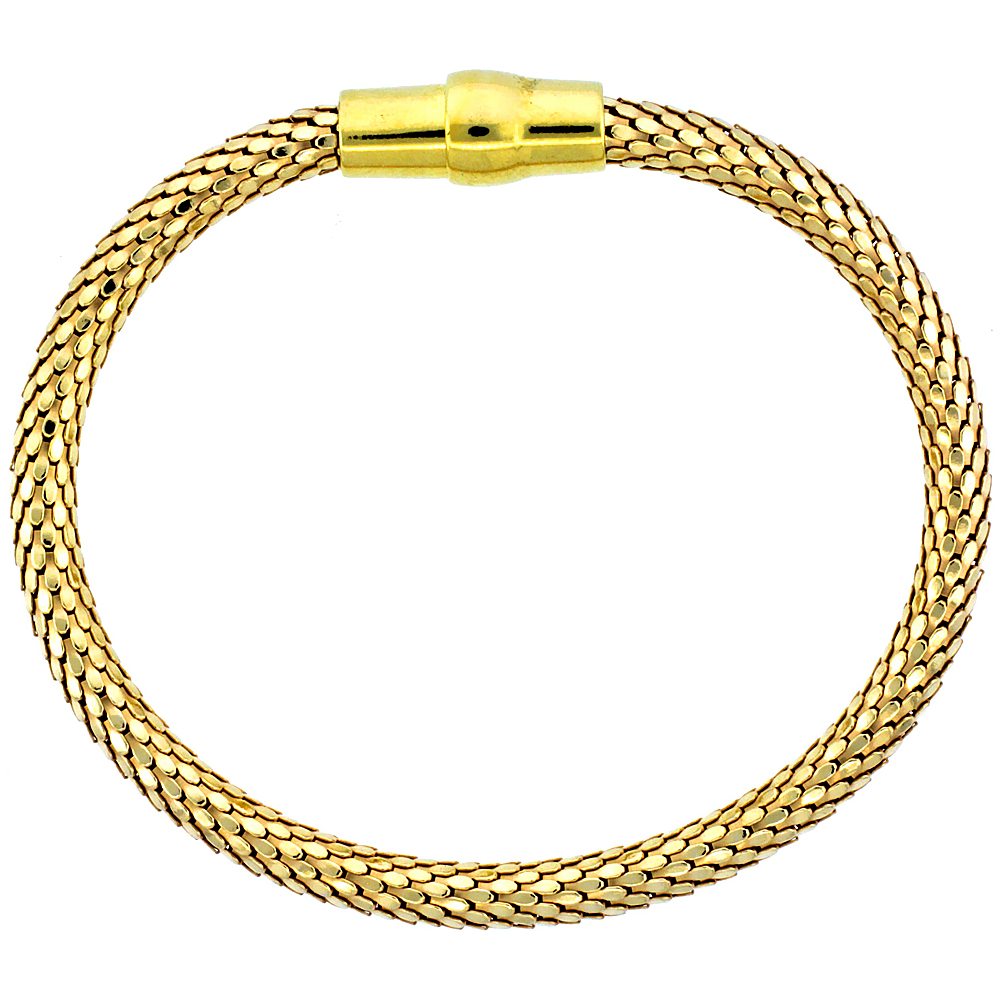 Sterling Silver Flexible Bangle Bracelet Magnetic Clasp Yellow Gold Finish, 3/16 inch wide