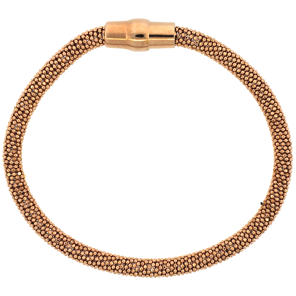 Sterling Silver Flexible Beaded Bangle Bracelet Magnetic Clasp Rose Gold Finish, 3/16 inch wide
