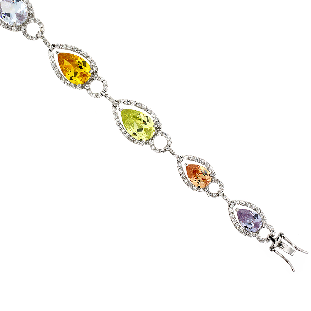 Sterling Silver Multi Color Cubic Zirconia Teardrop Bracelet Ladies Large Pear Shape Stones 14 mm wide 7 inch