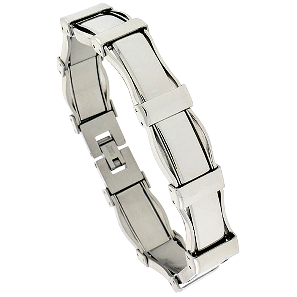 STAINLESS STEEL ID BRACELET FOR MEN ROUNDED EDGE LINKS CARBON FIBER ACCENT, 3/8 INCH WIDE, 8 1/2 INCH LONG