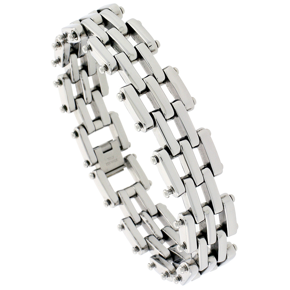 Stainless Steel Bar Bracelet For Men, 3/4 inch wide, 8 1/2 inch long