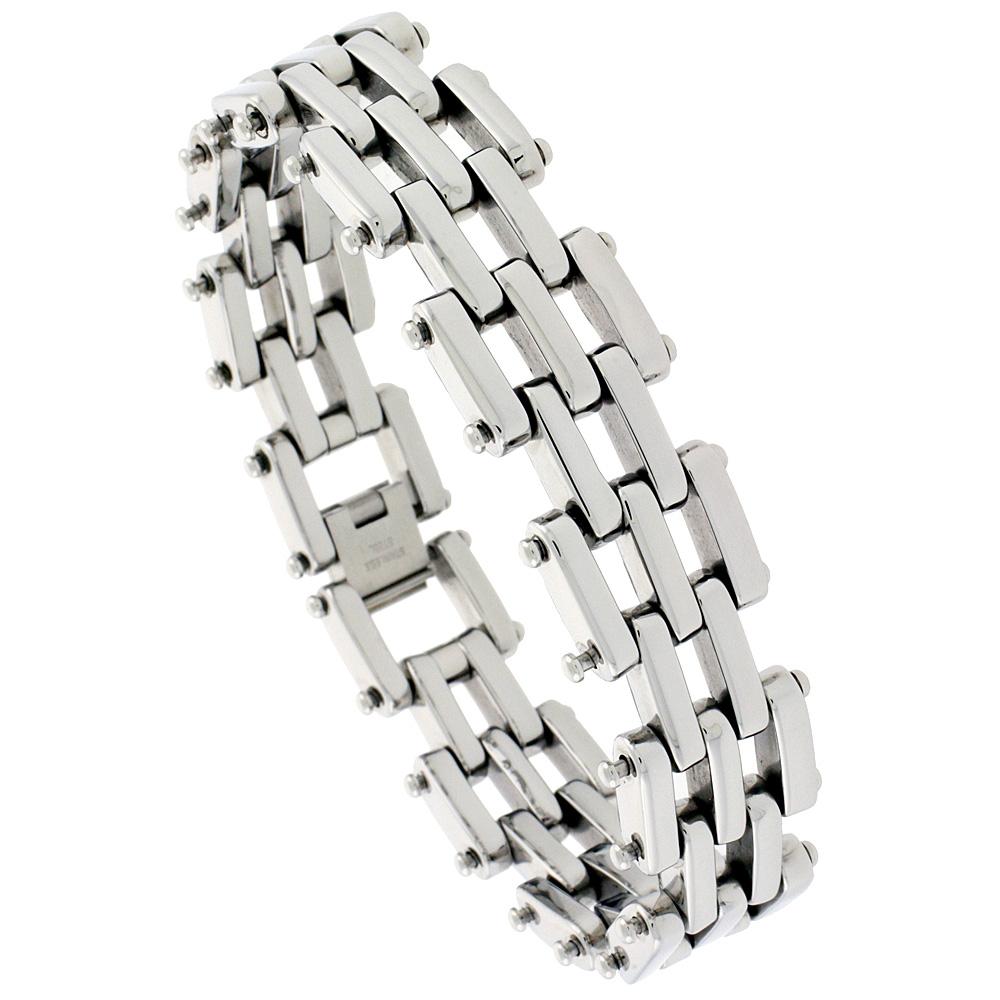 Stainless Steel Bar Bracelet For Men, 3/4 inch wide, 8 1/2 inch long
