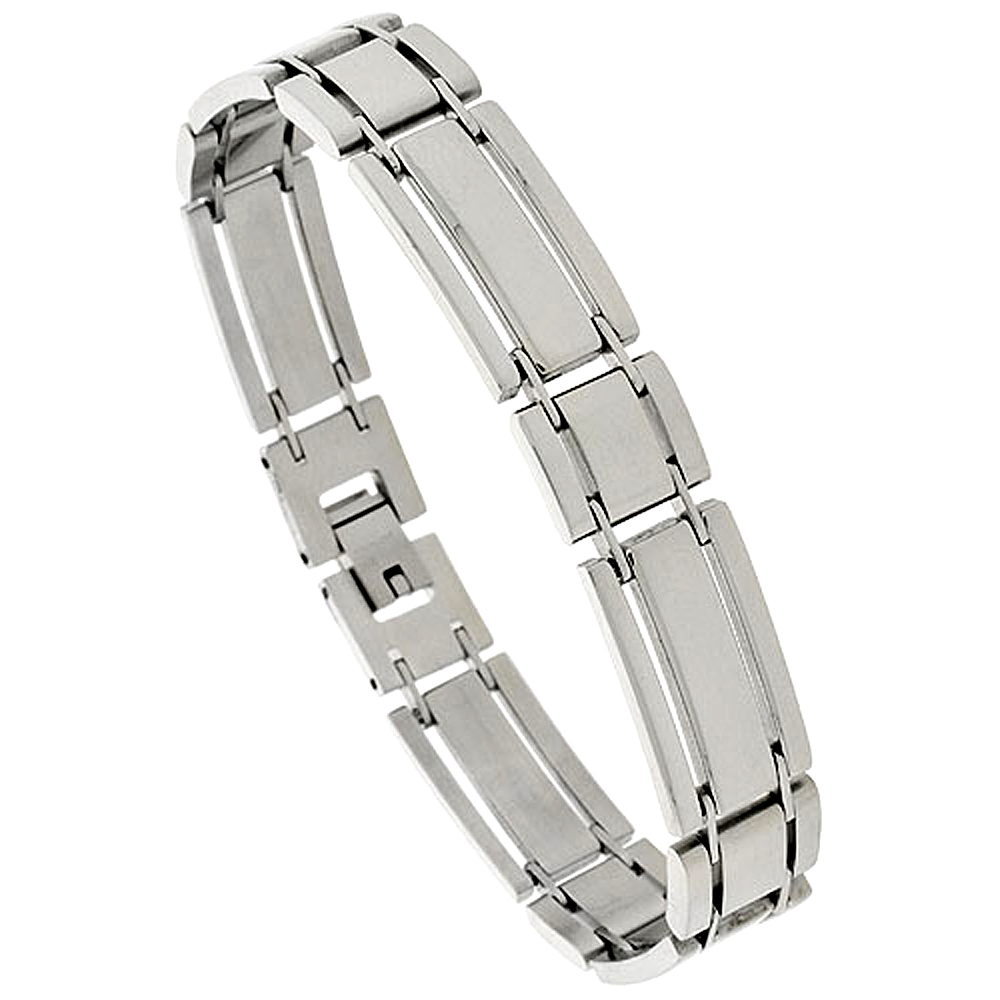 Stainless Steel Bar Bracelet For Men, 1/2 inch wide, 8.25 in.