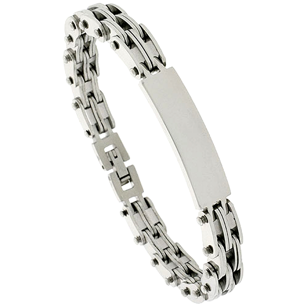 Stainless Steel ID Bracelet For Men, 3/8 inch wide, 8 inch long