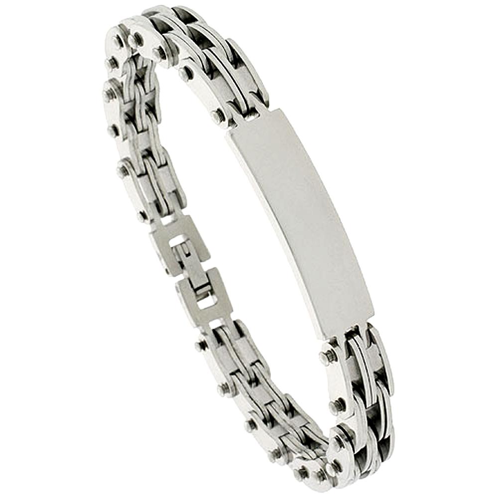 Stainless Steel ID Bracelet For Men, 3/8 inch wide, 8 inch long