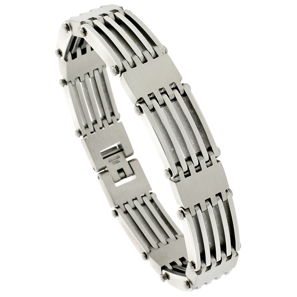 Stainless Steel Bar Bracelet For Men, 5/8 inch wide, 8 1/2 inch long