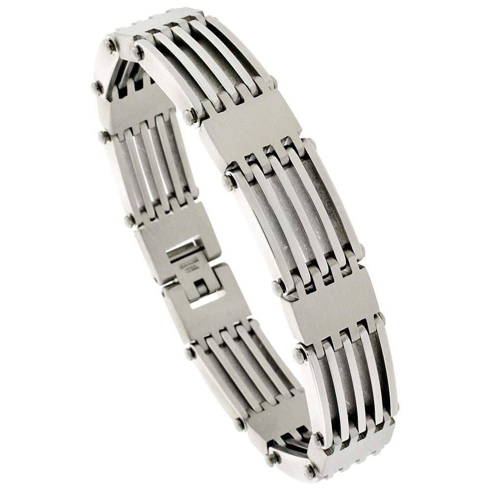 Stainless Steel Bar Bracelet For Men, 5/8 inch wide, 8 1/2 inch long
