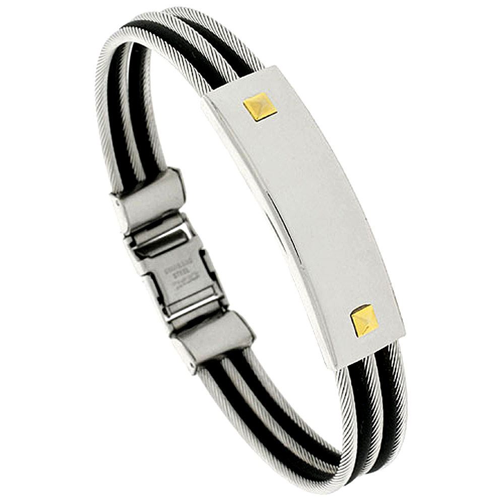 Stainless Steel Cable ID Bangle Bracelet For Men Black Rubber Accent 1/2 inch wide, 8 1/2 inch long